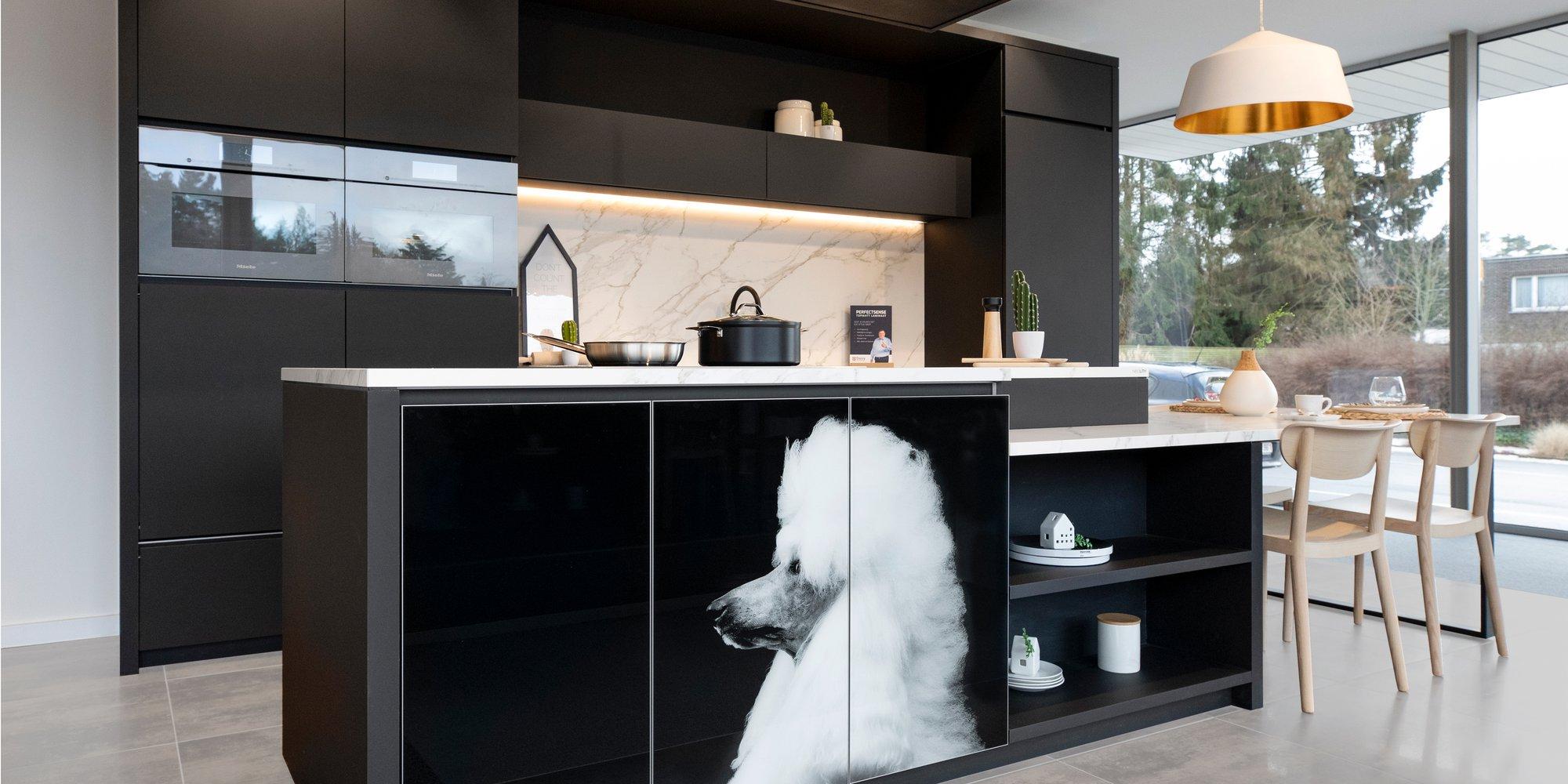 Geprinte kastdeuren met zwart wit foto van poedel