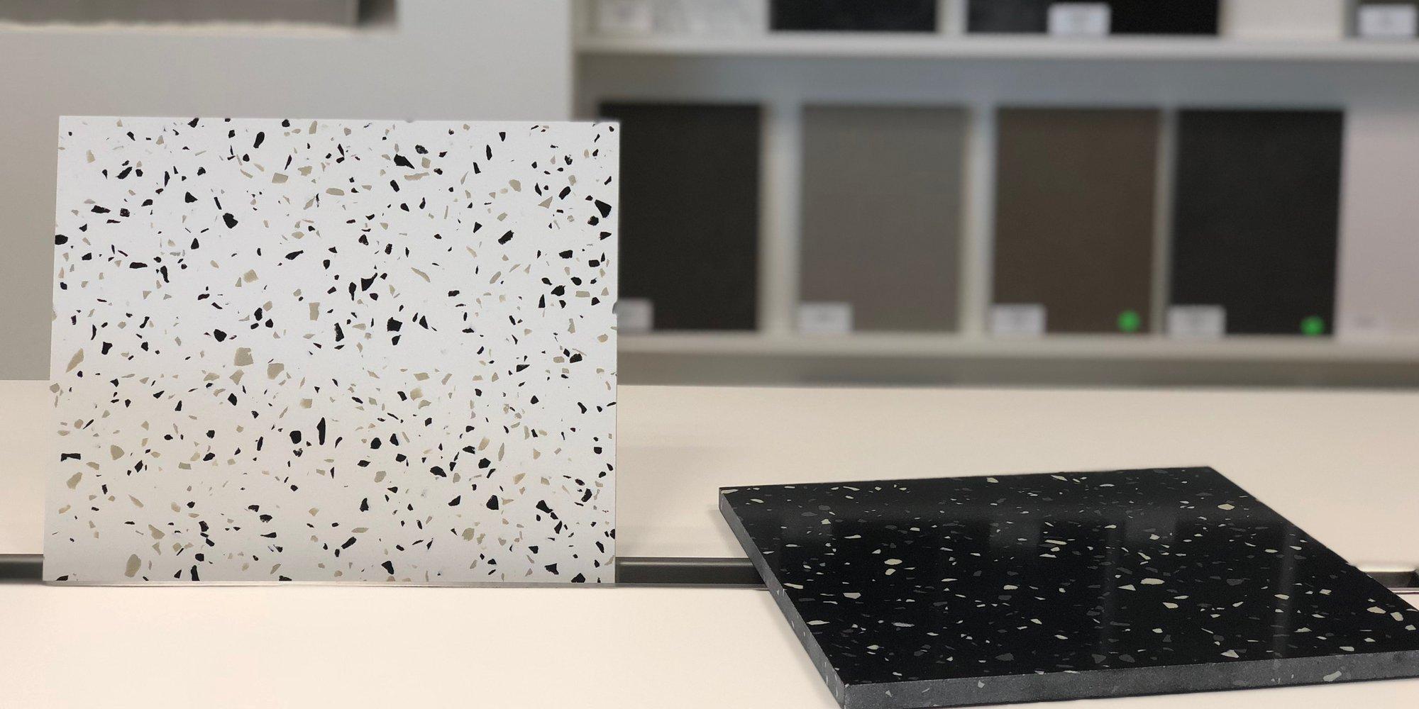 2 nieuwe kleuren composiet: Terrazo White en Terrazo Black