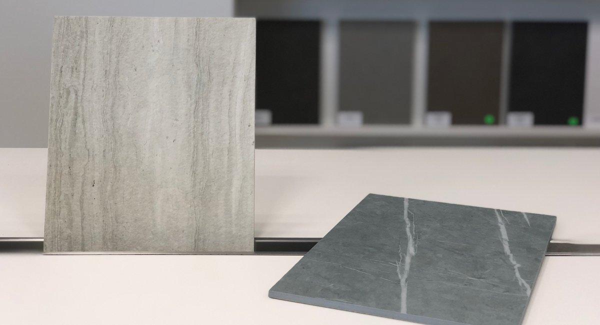 2 nouvelles couleurs de céramique : Strata Argentum Riverwashed et Zaha Stone Silk