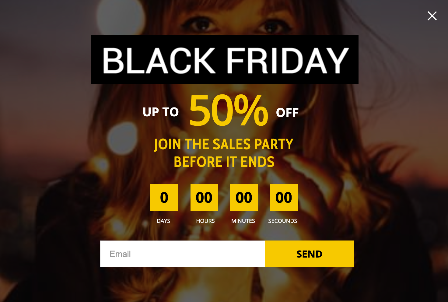 Black Friday sales promotion popup with a countdown timer
