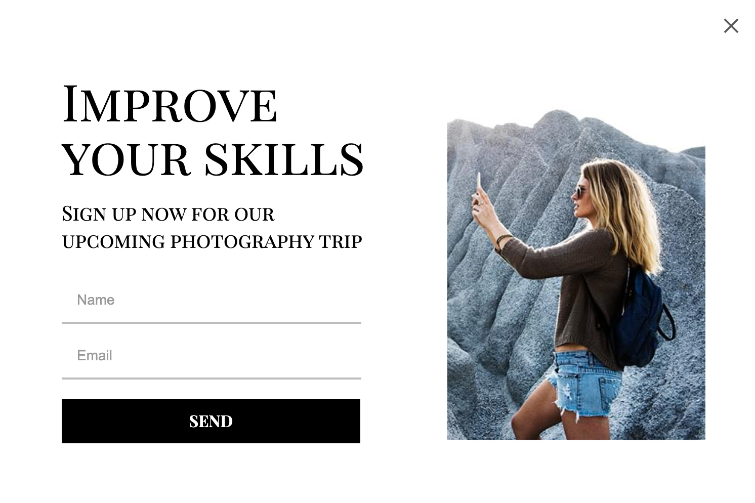 Popup for photography course creators