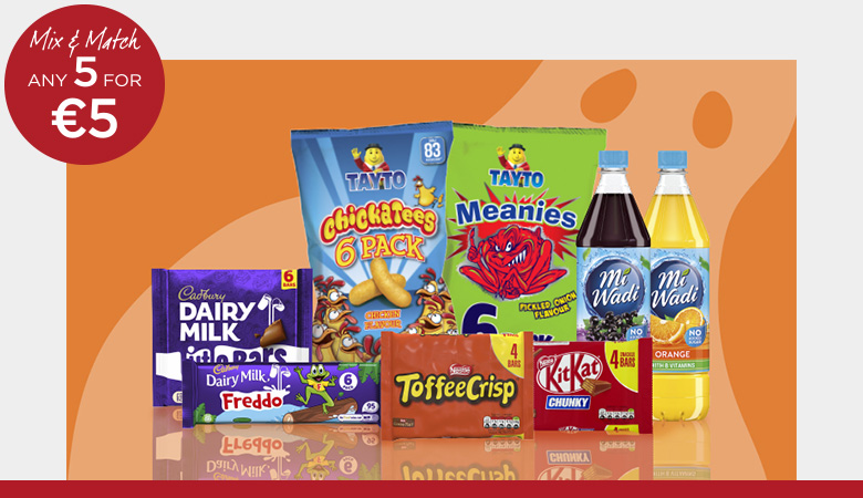 Get 5 for €5 on your favourite brands like Cadbury, Tayto and MiWadi