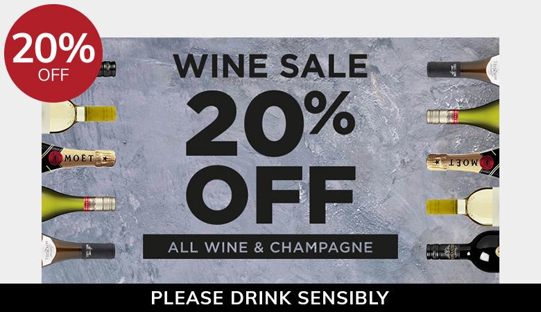 20% off all wine & champagne