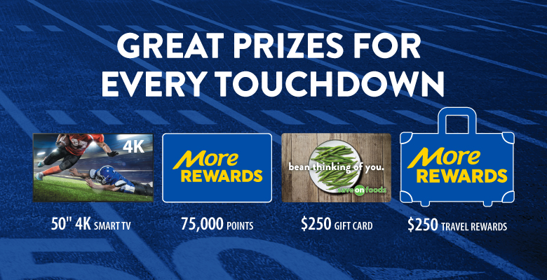 Great Prizes for every touchdown - 50 Inch 4k smart tv, 75,000 more rewards points, $250 save on foods gift card, $250 in more rewards travel rewards