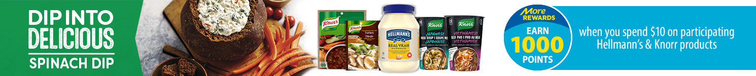 Earn 1000 more rewards points when you spend $10 of participating Hellmann's & Knorr products