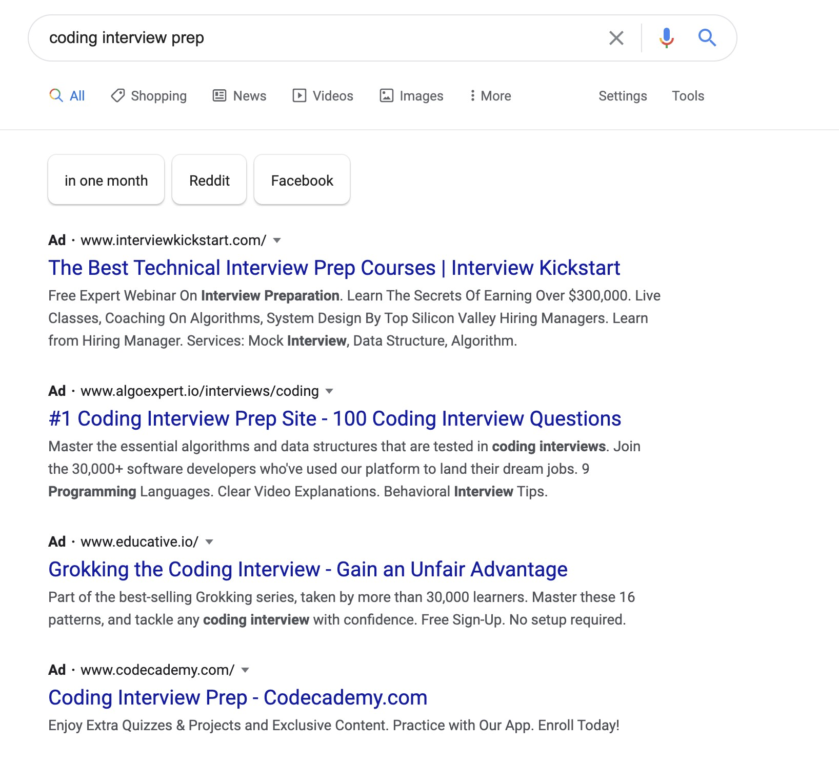 Google ads for technical interview prep