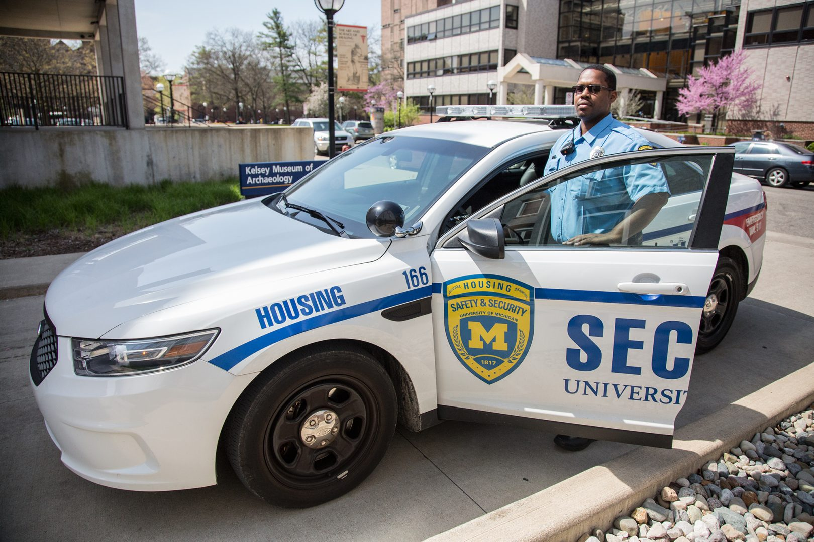 Housing Security Officer Michael Minor on patrol