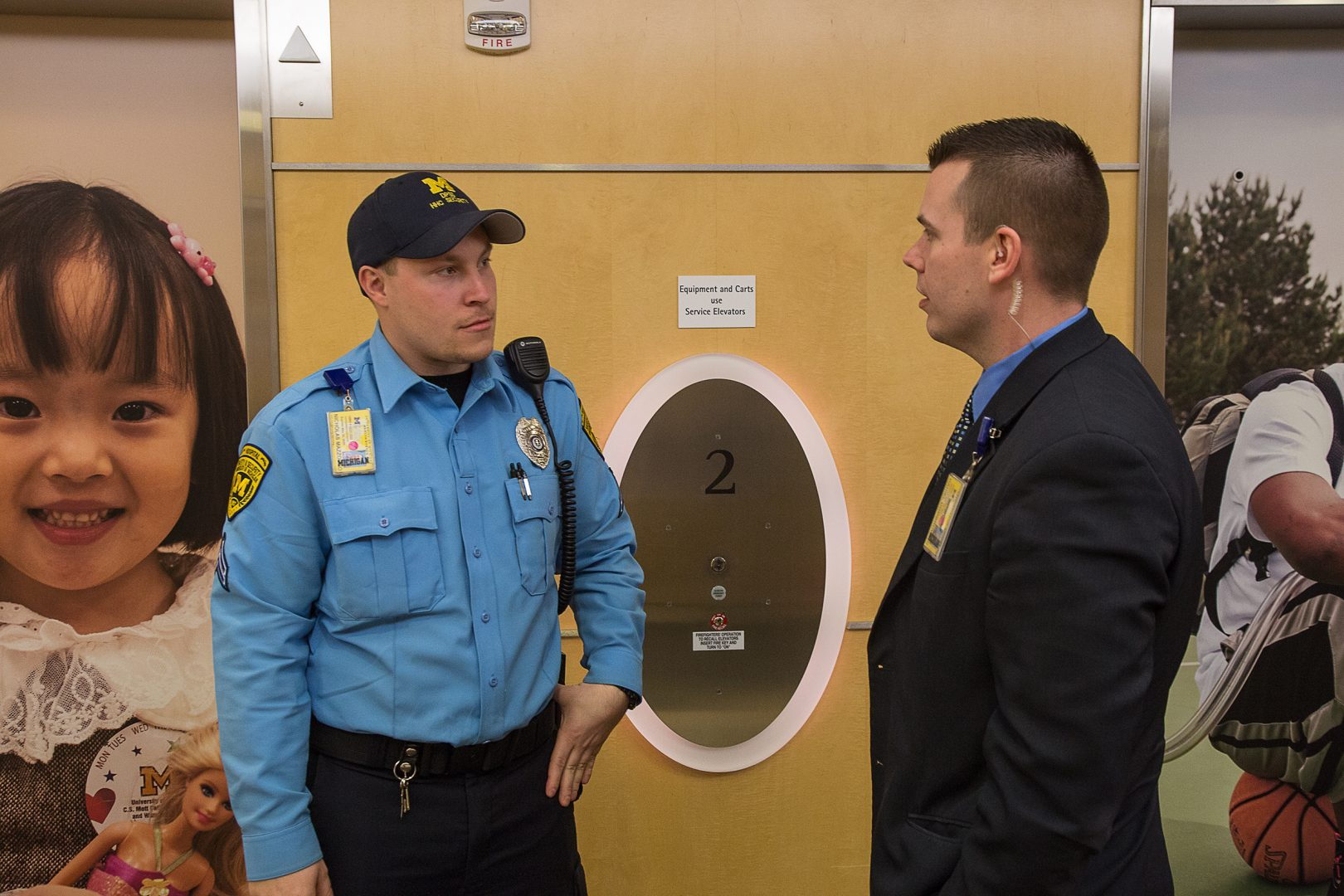 Security Corporal Mazzacco speaks with GSS Supervisor Dombrowski