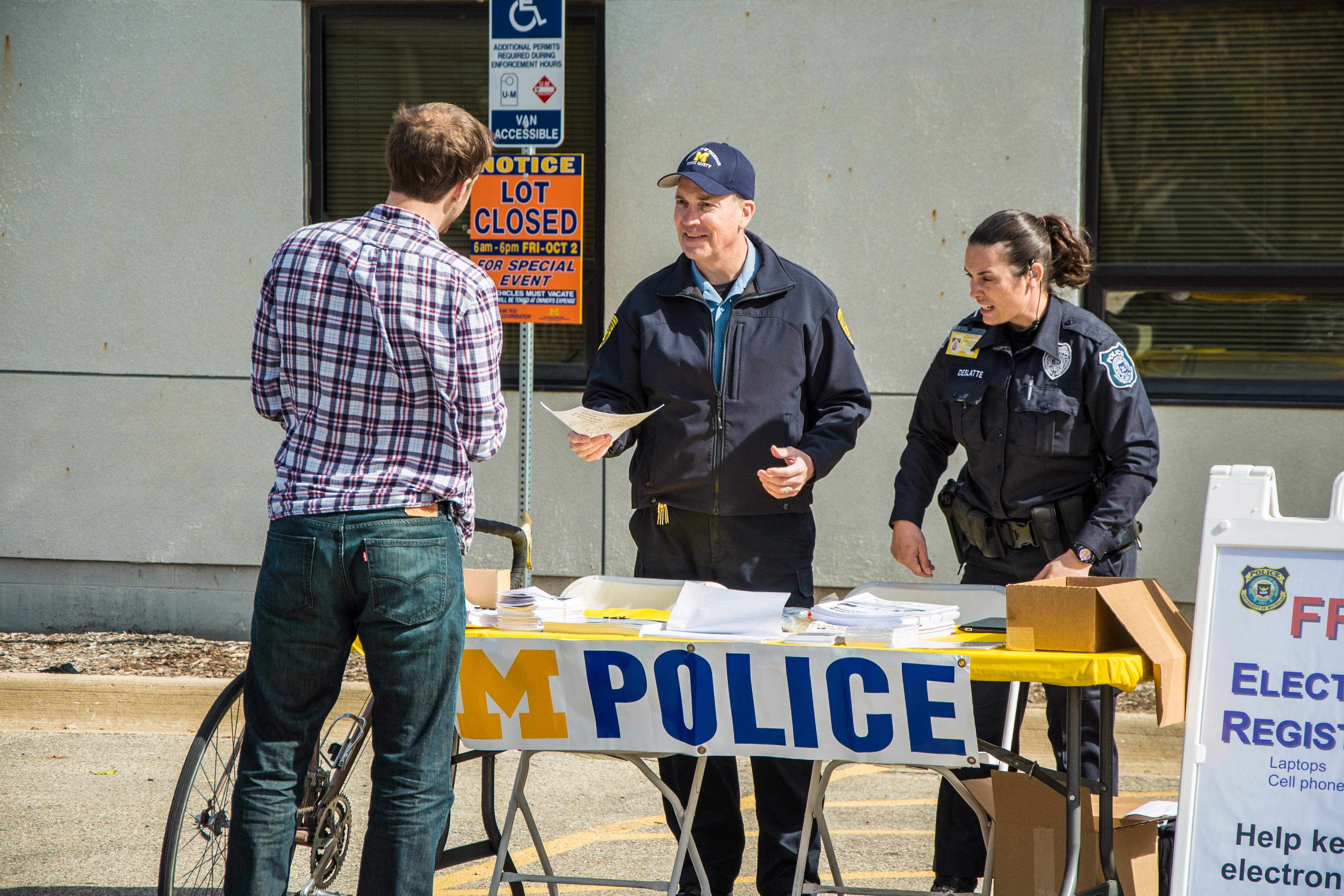 Housing Security Officer Scott Kearney and Police Officer Kaitlin Deslatte