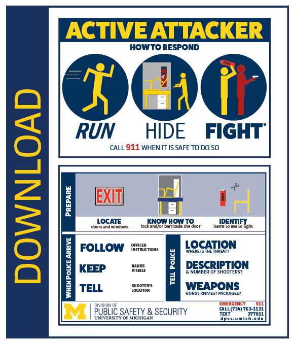 Run, hide, fight information card
