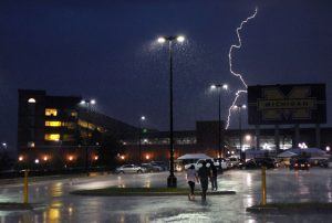 Lightning strikes over Michigan Stadium. Photo from Mark Bialek, AnnArbor.com