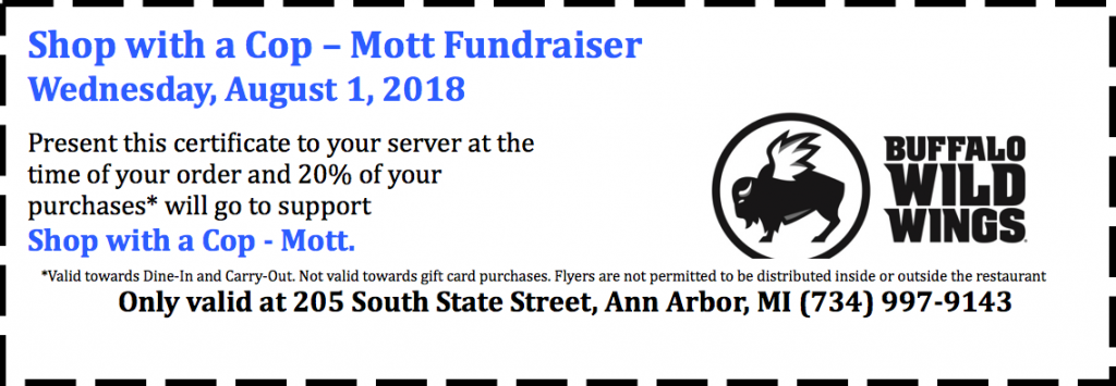 Shop with a cop - Mott Fundraiser - BWW certificate for August 1, 2018