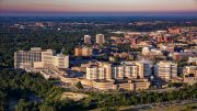 Michigan Medicine Main Complex and the city of Ann Arbor