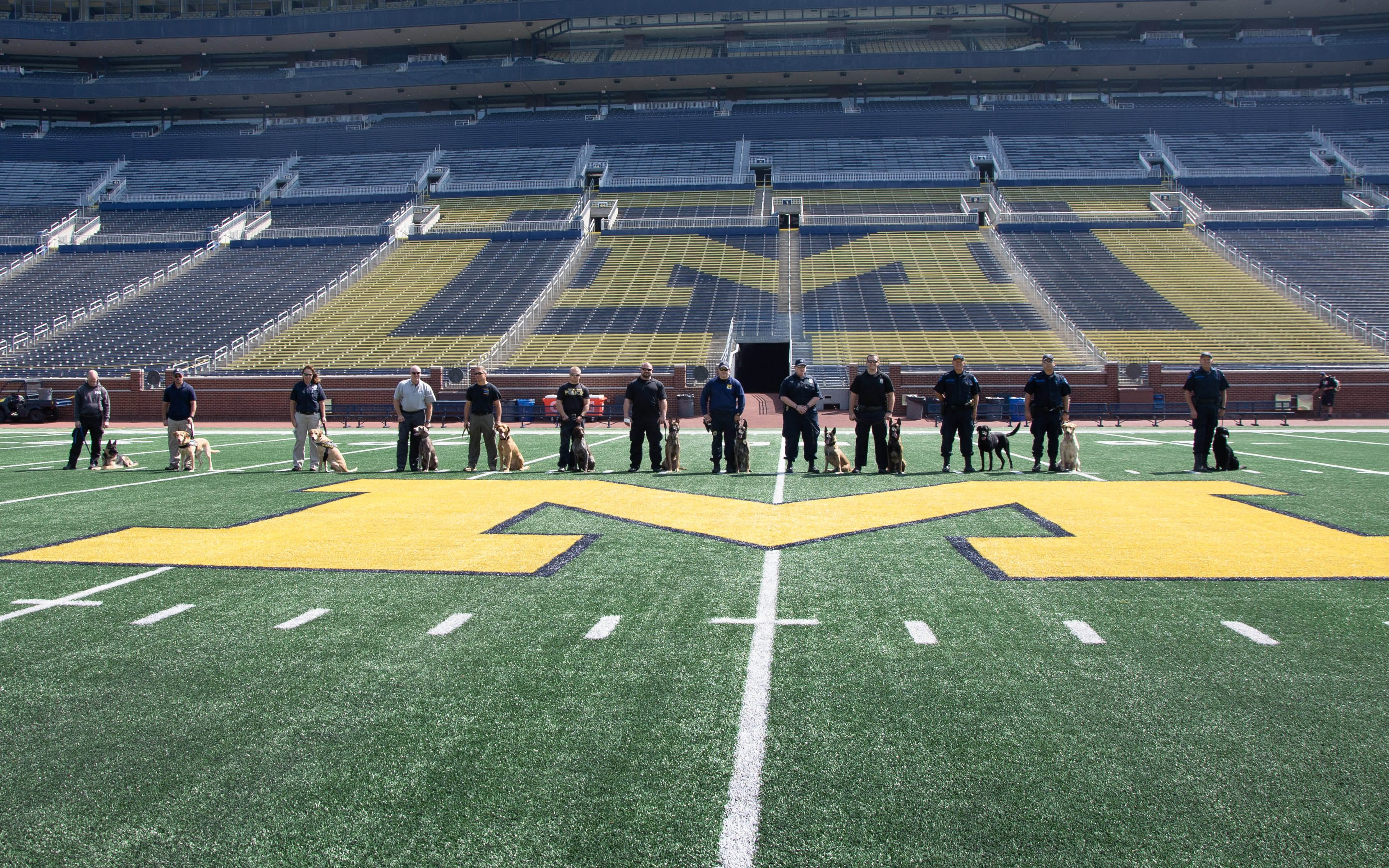 Photo on the field at Michigan Stadium with area K-9 law enforcement partners