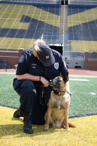 K-9 Nike and handler Officer Susan Upton on the field at Michigan Stadium