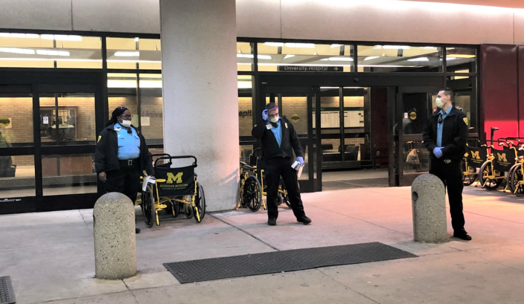 DPSS staff stationed outside to screen everyone entering Michigan Medicine.