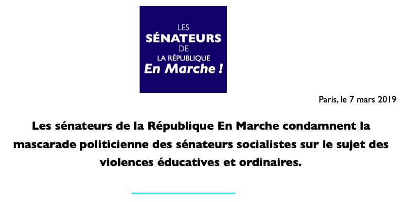 📜 Les sénateurs de LaREM condamnent la mascarade politicienne des sénateurs socialistes sur le sujet des violences éducatives et ordinaires