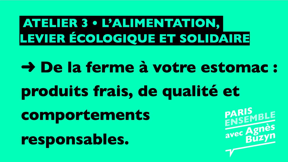De la ferme à votre estomac |L'alimentation, levier écologique et solidaire  - Atelier 3 - Paris 18 2020