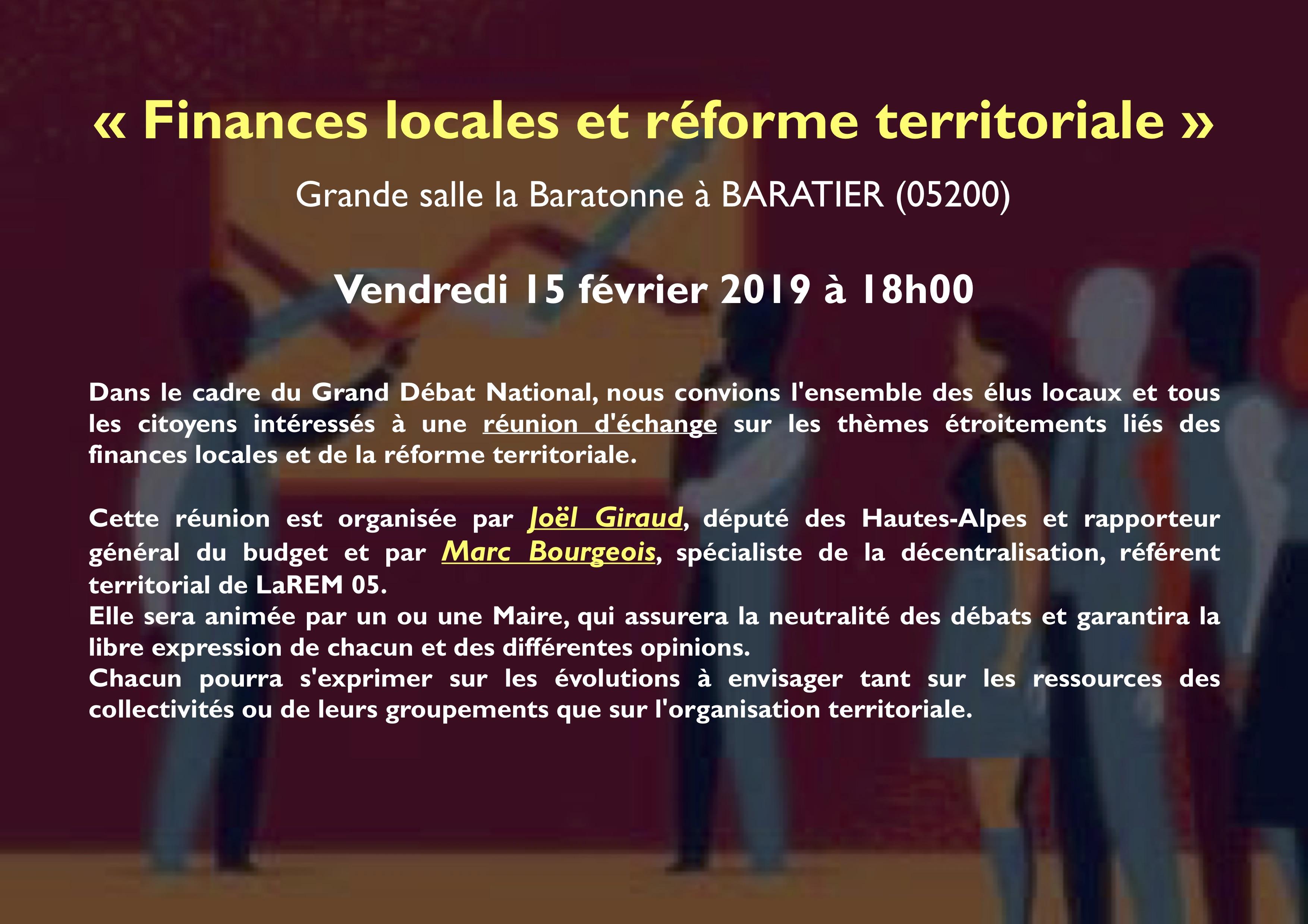 """Réunion """"Finances locales et réforme territoriale"""""""