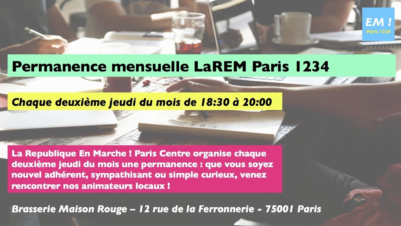 LaREM Paris 1234 lance sa permanence mensuelle