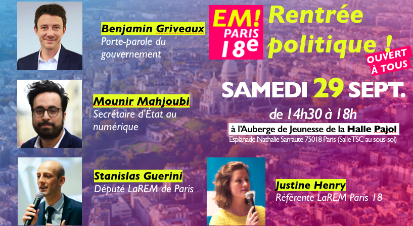 Samedi 29 Sept, c'est la rentrée politique de LaREM Paris 18 !