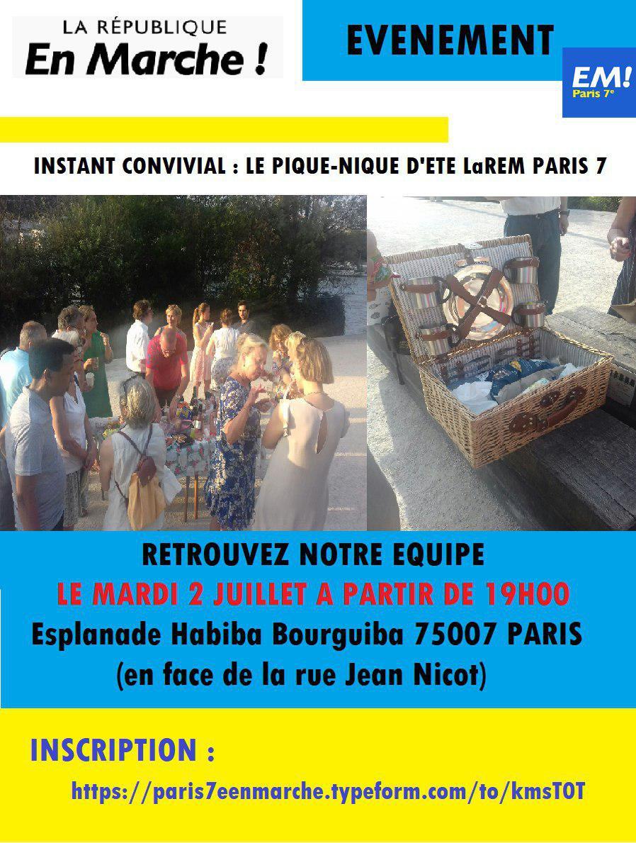 Retrouvez l'équipe de LAREM Paris 7 autour de notre pique-nique estival