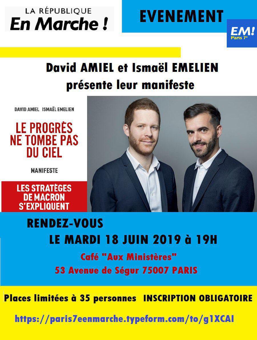 """SAVE THE DATE : 18 juin 2019 Conférence avec David AMIEL et Ismaël EMELIEN sur leur manifeste : """"Le progrès ne tombe pas du ciel"""""""