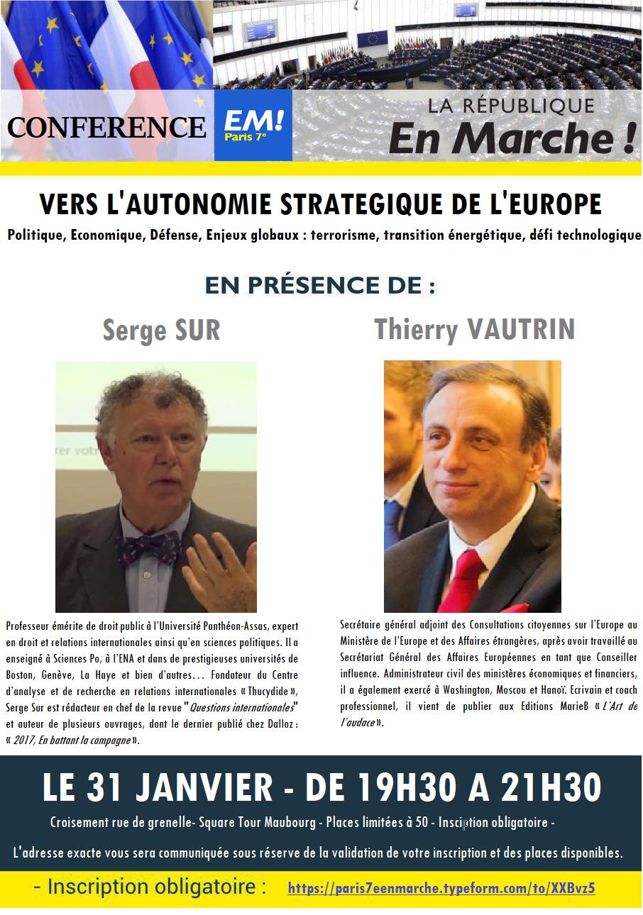 CONFERENCE : VERS  L'AUTONOMIE STRATEGIQUE DE L'EUROPE
