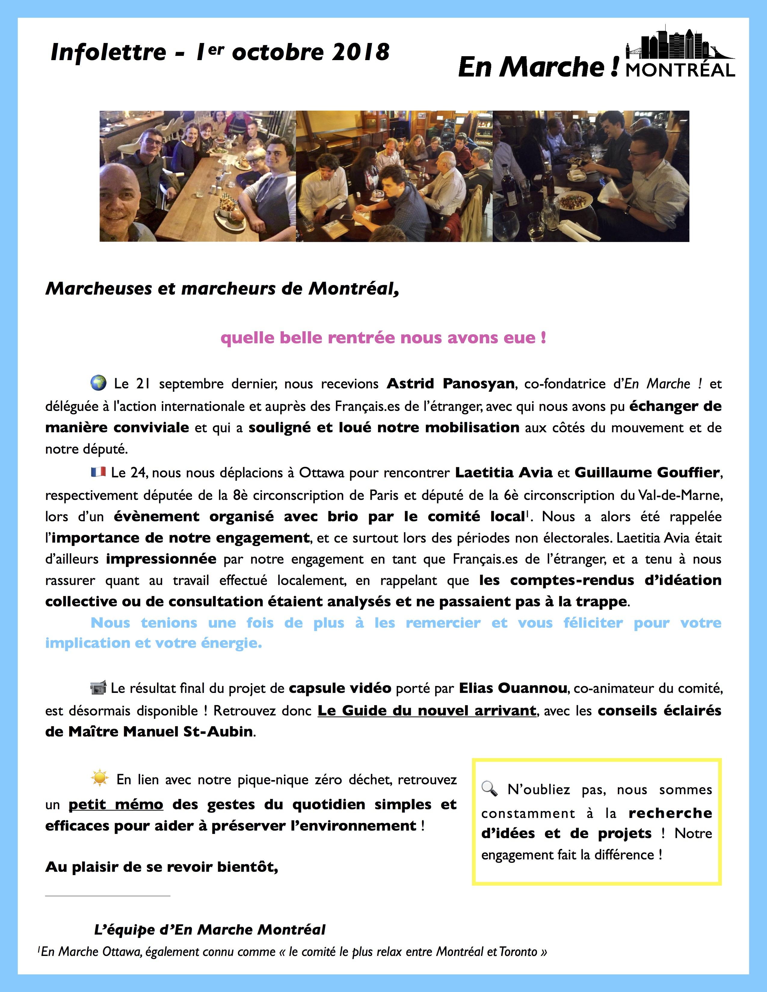 [Comité Local] Infolettre Montréal octobre 2018