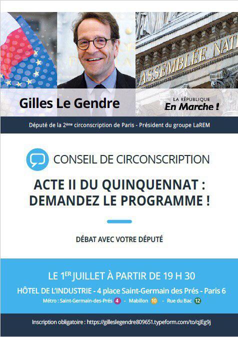 SAVE THE DATE : Le 1er juillet 2019 se tiendra le conseil de circonscription de Gilles LE GENDRE
