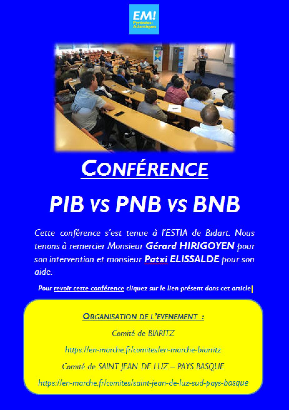 Conférence PIB vs PNB vs BNB