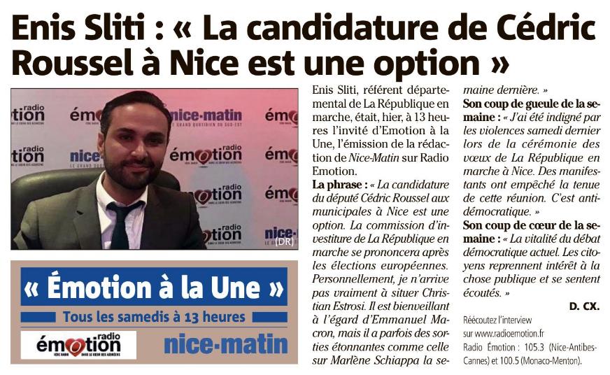 Enis Sliti référent de #LaREM 06 au micro de Denis Carreaux de Nice-Matin dans l'émission Emotion à la Une
