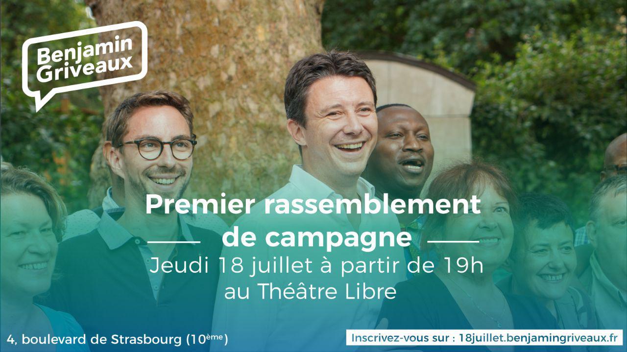 Premier meeting de campagne pour Benjamin GRIVEAUX, candidat investi tête de liste pour PARIS 2020