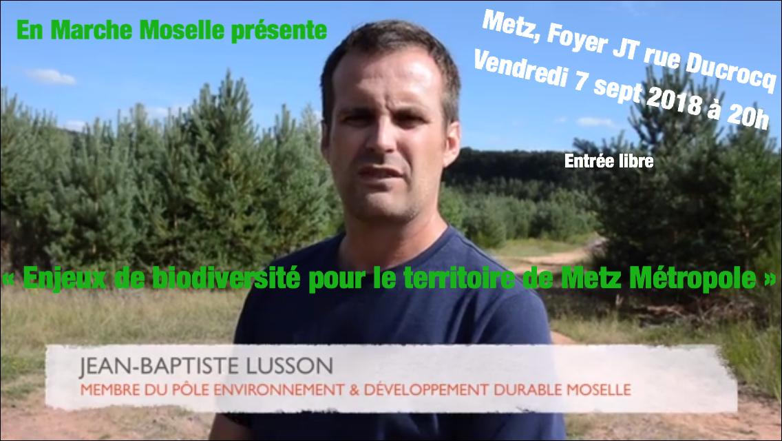 """Vendredi 7 sept 2018 : """"Enjeux de biodiversité pour le territoire de Metz Métropole"""""""