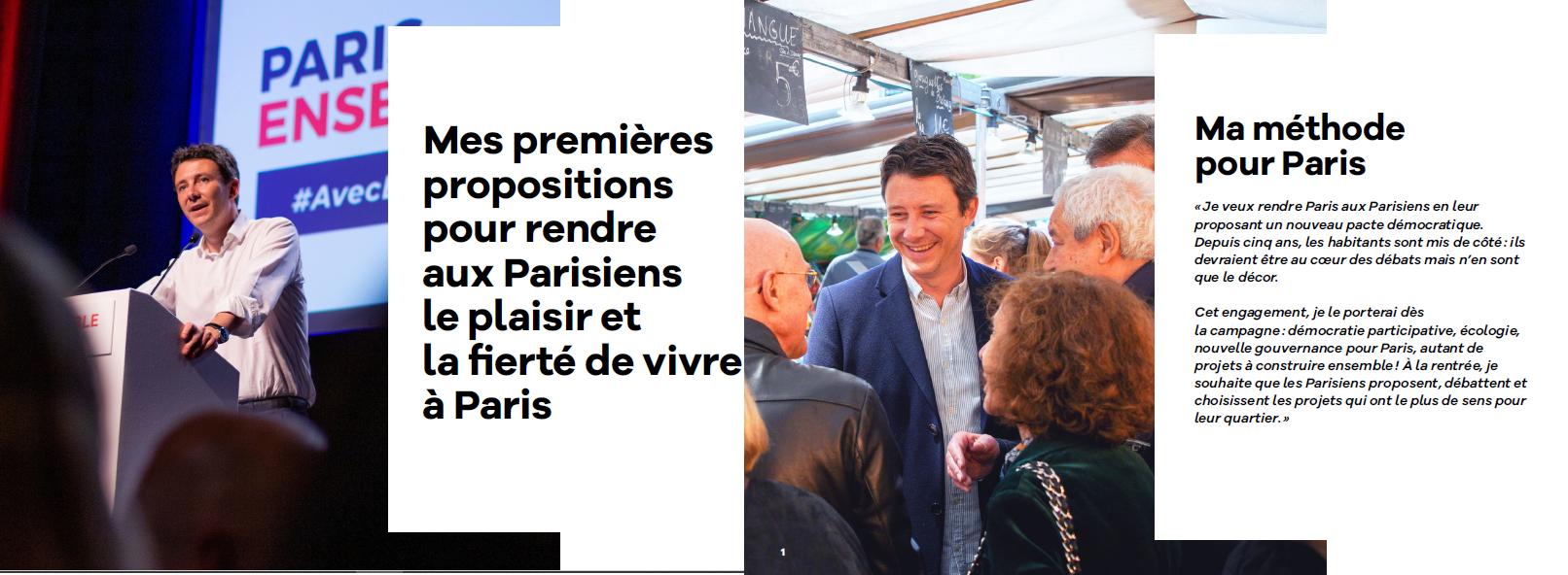 Benjamin GRIVEAUX : Ses premières propositions pour Paris