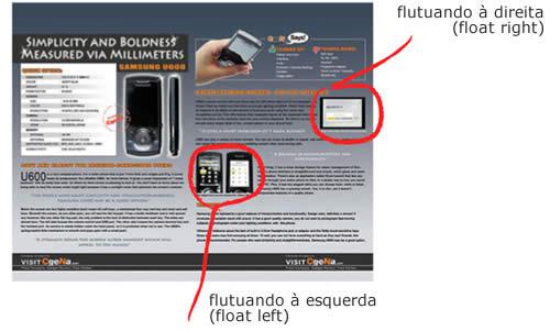 Exemplo de Float Left e Float Right em uma página da web.