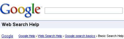 Exemplo de breadcrumb: Google