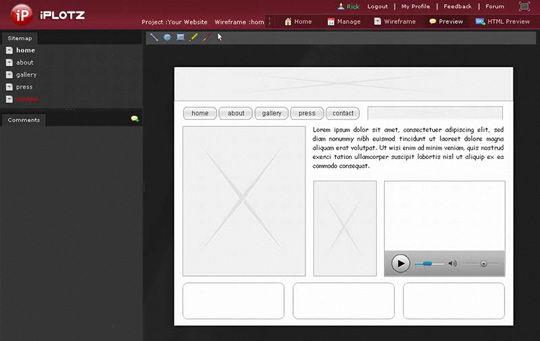 Ferramenta para criação de wireframes: iPlotz