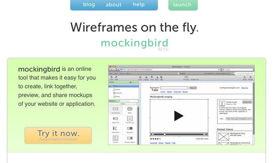 Ferramenta para criação de wireframes: Mockingbird