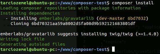 Composer: tela de um exemplo de instalação de pacote