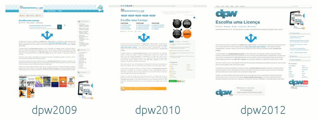 desenvolvimento para web: versões antigas