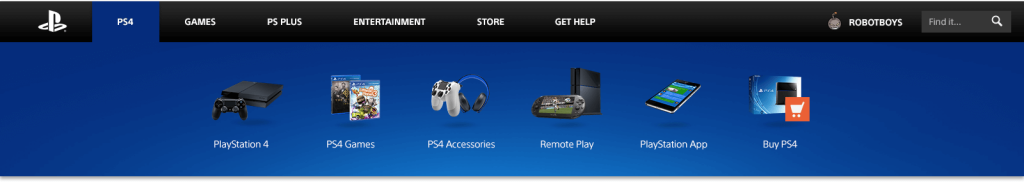 Desktop Drop-Down Menu do Playstation.com