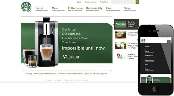 10 dicas para menus responsivos: site Starbucks.