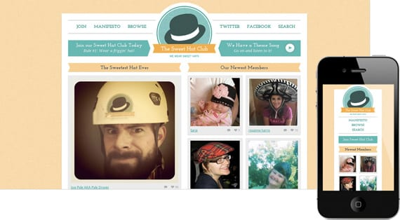 10 dicas para menus responsivos: site The Sweet Hat Club.