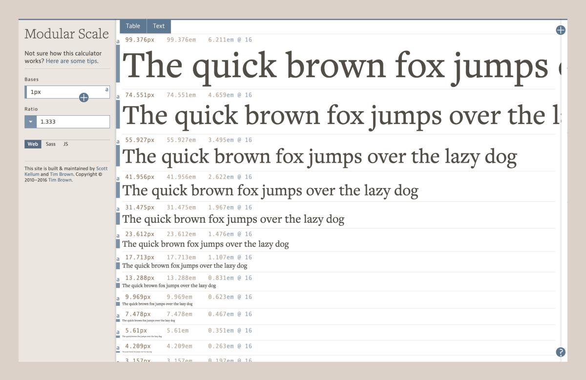 Processo para escolher fontes: screenshot da ferramenta Modular Scale