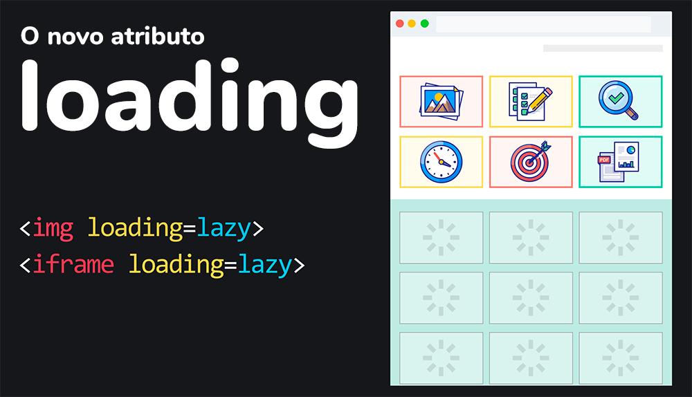 """Lazy loading de imagens nativo: exemplo esquemático de uso do novo atributo """"loading"""""""