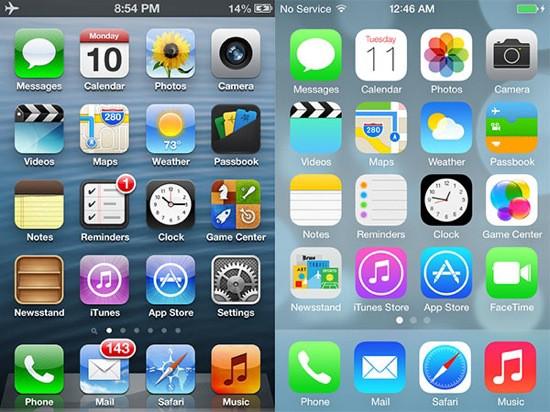 A transição da Apple de skeuomorfismo para flat design.