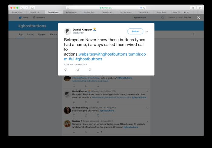 Primeiro tweet conhecido sobre botões fantasma.