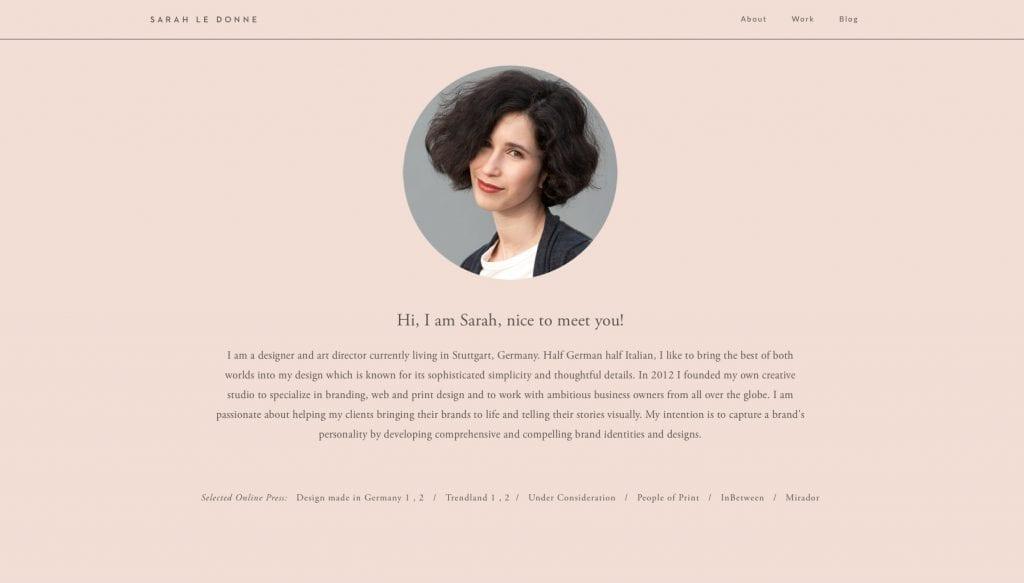 Página Sobre do portfolio de Sarah Le Donne
