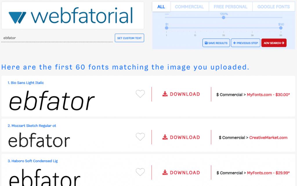 Identificador de fonte: resultado de identificação de fontes no Font Finder.